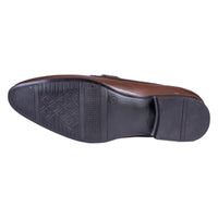 Men's Wing Tip Mock Strap Leather Slip On - CAGA SHOES