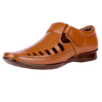 Men's Sandal Slip On with Brogue and Air Vents - CAGA SHOES