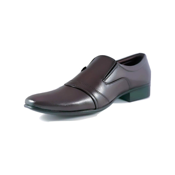 Men's Cap Toe Loafer With Mock Button - CAGA SHOES