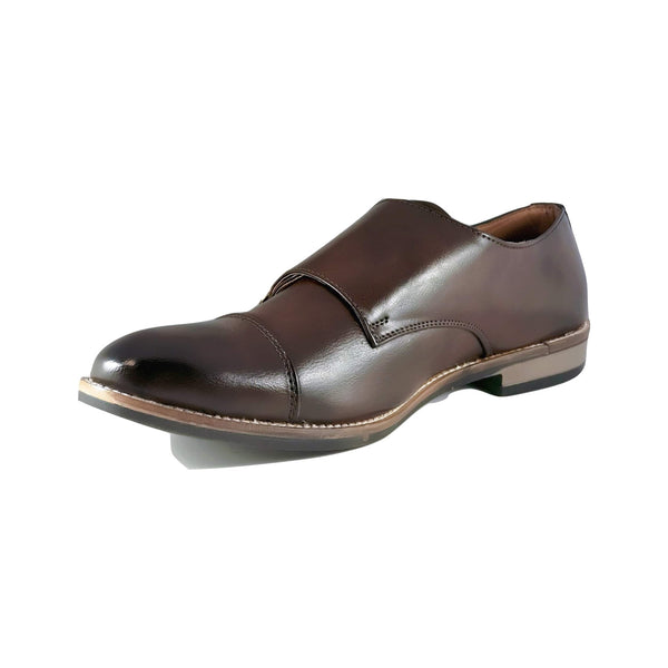 Men's Cap Toe Single Monk Strap Slip On - CAGA SHOES