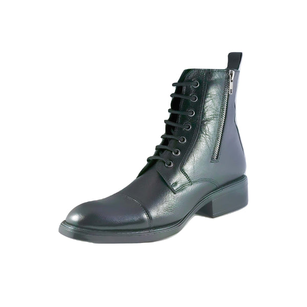 Men's Leather Laced Zip Boots - CAGA SHOES