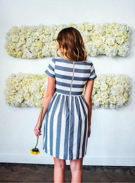 KAI Striped Dress Blue & White
