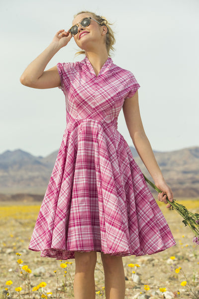Buttercup Stretch Poplin Plaid Fit And Flare Dress Pink