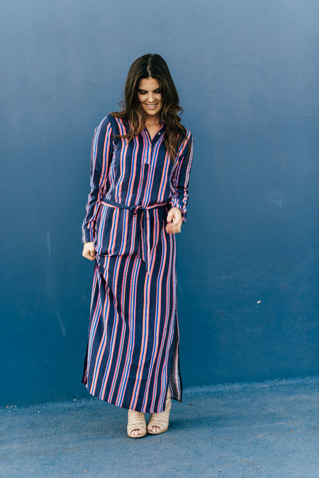 Zebra Maxi Dress Navy & White