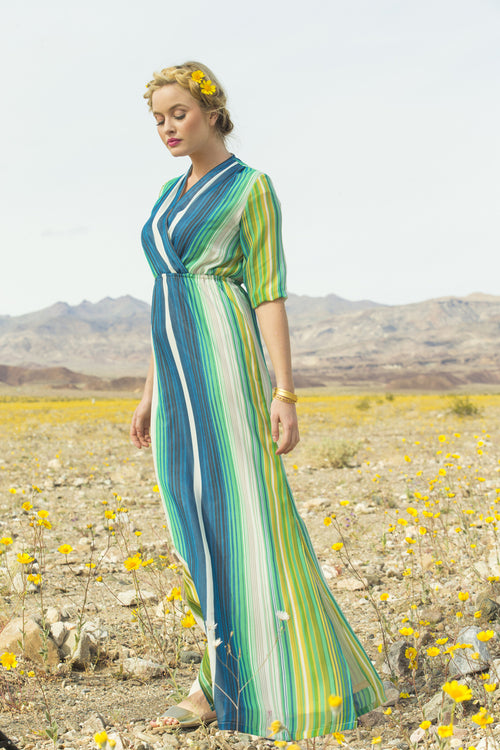 Jessamine Stripped Chiffon Maxi Dress Green
