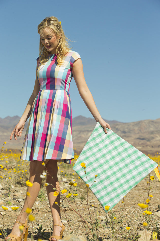 Blossom Cotton Plaid Dress Multicolor