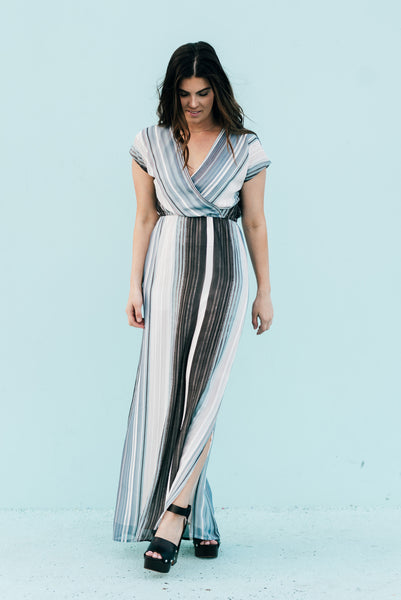 Waterfall Striped Chiffon Maxi Dress Blue