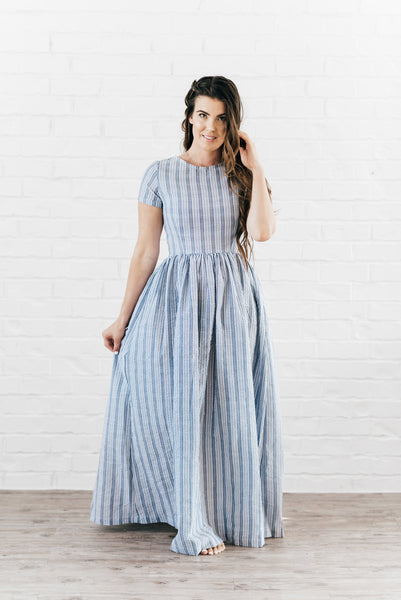 Gemma Maxi Dress Blue & White