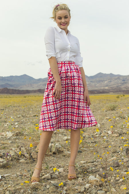 Sophie Plaid Taffeta Skirt Bue