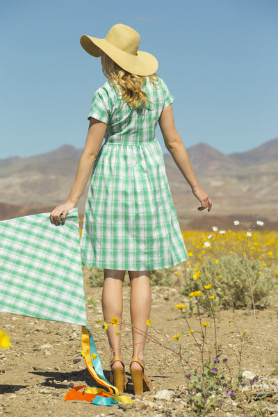 Lillian Stretch Poplin Plaid Dress Green