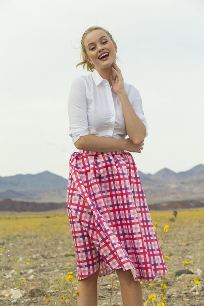 Lucy Taffeta Plaid Midi Skirt Pink