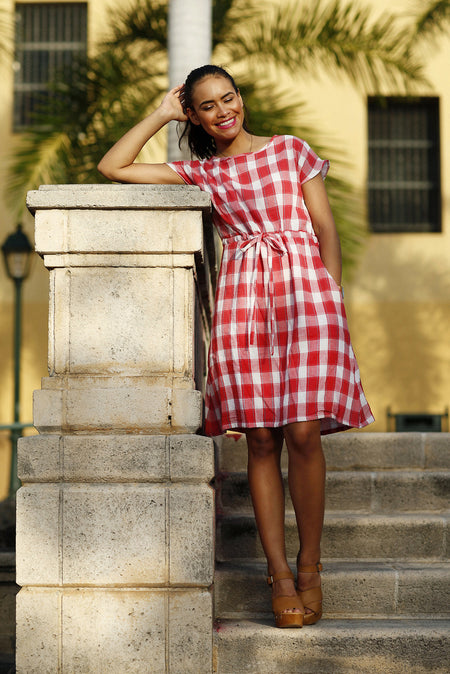 Evi Plaid Taffeta Skirt Pink