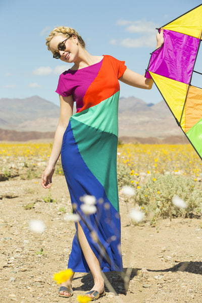 Percie  Rayon Challis Maxi Dress Rainbow