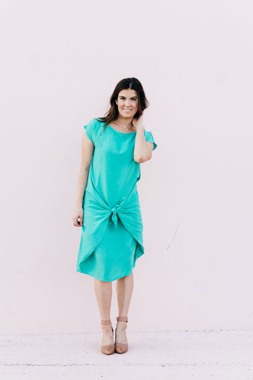 Iris Rayon Tie Dress Mint