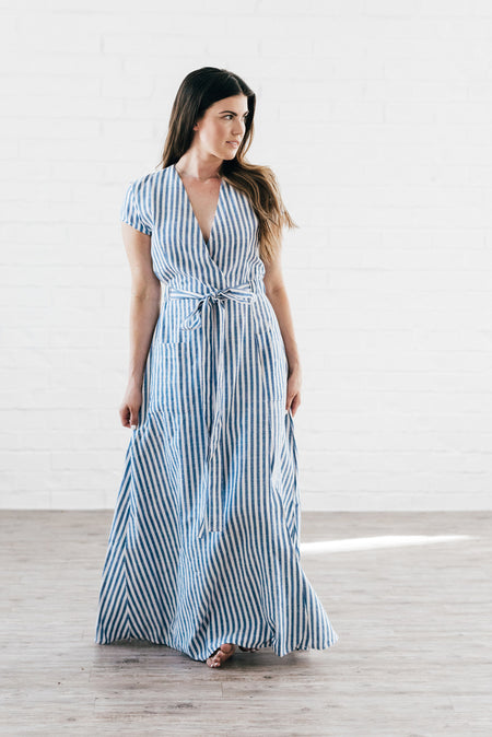 Marisol Wrap Maxi Dress Blue