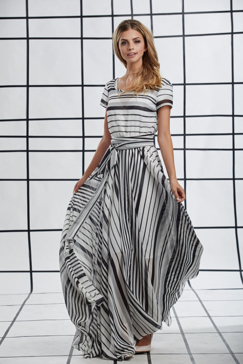 Zebra Maxi Dress Black and White