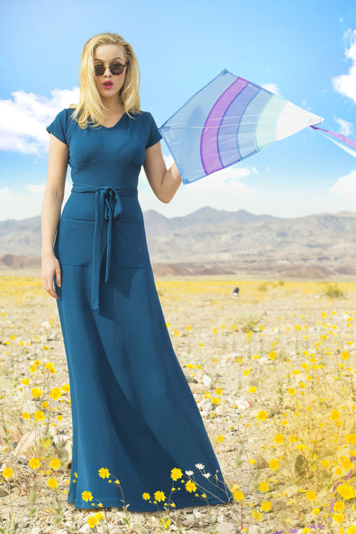 Melanie Techno Crepe Maxi Dress Blue
