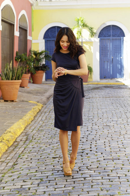 Sade Fit & Flare Dress Blue