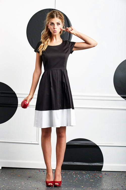 Inky Fit and Flare Dress B&W