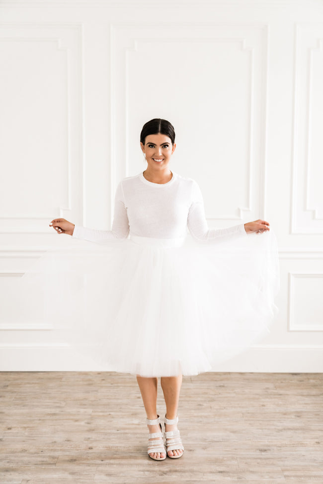 Snow White Midi Tulle Skirt