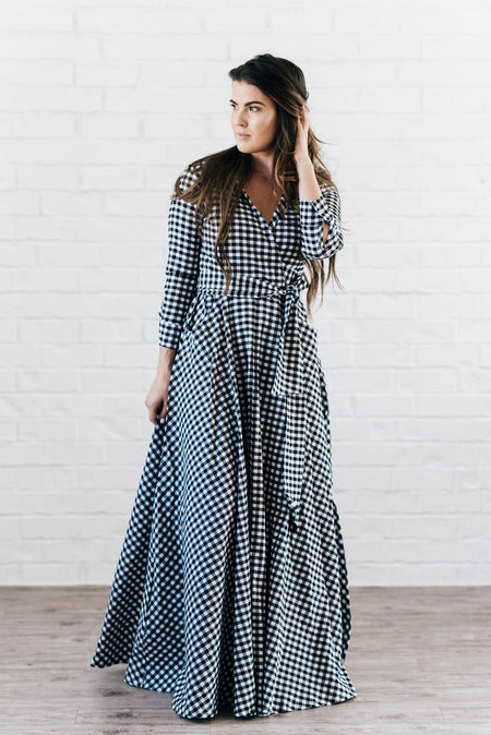 Amanda Stretch Poplin Plaid Maxi Dress Green