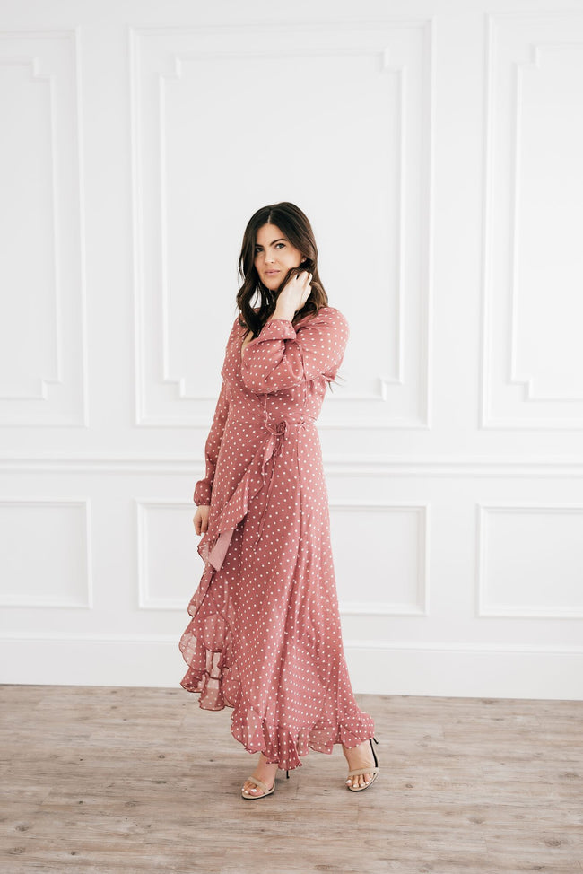 Rose Polka Dot Wrap Dress