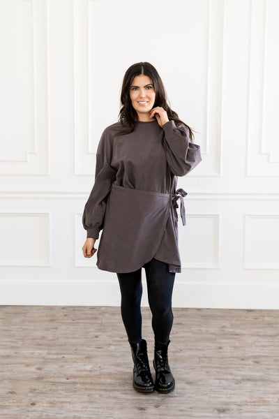 Charcoal Sweatshirt Dress