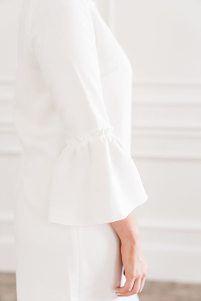 White Flutter Sleeve Dress