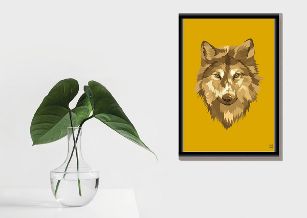 Dierenposter Wolf - Colourful