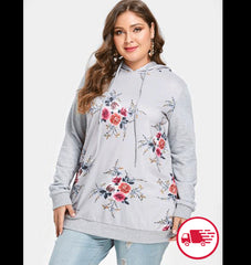 Plus Size Women's Floral Print Clothing Drawstring Hoodie