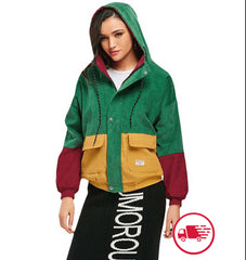 Women's Corduroy Color Blocking Hooded  Jacket