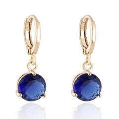 Women's Gold Plated Round Crystal Earrings Stud Jewelry