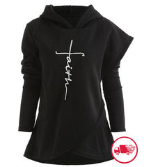 Women's Faith Letter Embroidered Christian Fleece Wrap Hoodie Jesus