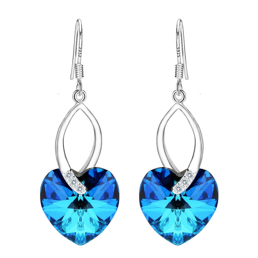2834dfd89fdda Details about Women's Silver Love Heart Dangle Earrings Swarovski Crystals  Valentine's Day Gif
