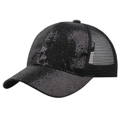 Women's Girl Sequins Ponytail Baseball Cap Snapback Hat Hip Hop Caps
