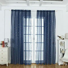 Transparent White Star Tulle Curtains for Living Room Bedroom