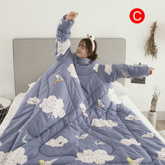 Warm Lazy Quilt with Sleeves Nap Soft Blanket