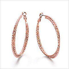 New Fashion Women's Rose Gold & Silver Color Double Circles Round Hoop Earrings Twisted Large Cross Earrings