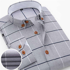 New Men's Casual Oxford Plaid  Slim Fit Shirt Formal&Business Occupation Long Sleeve Shirts Spring Men Dress Shirt