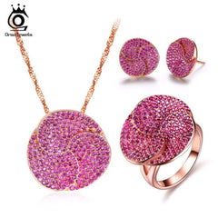 Fine & Fashion Ladies Rose Gold Color Jewelry Sets Earrings & Ring & Necklace