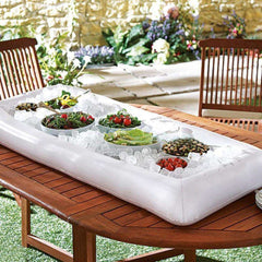 Summer Ice Bucket Inflatable Table Pool Float Water Party Air Mattress Serving Salad Bar Tray Food Drink Holder