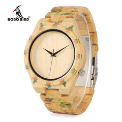 Unisex Flower Printed Wooden floral Watches Bamboo Band