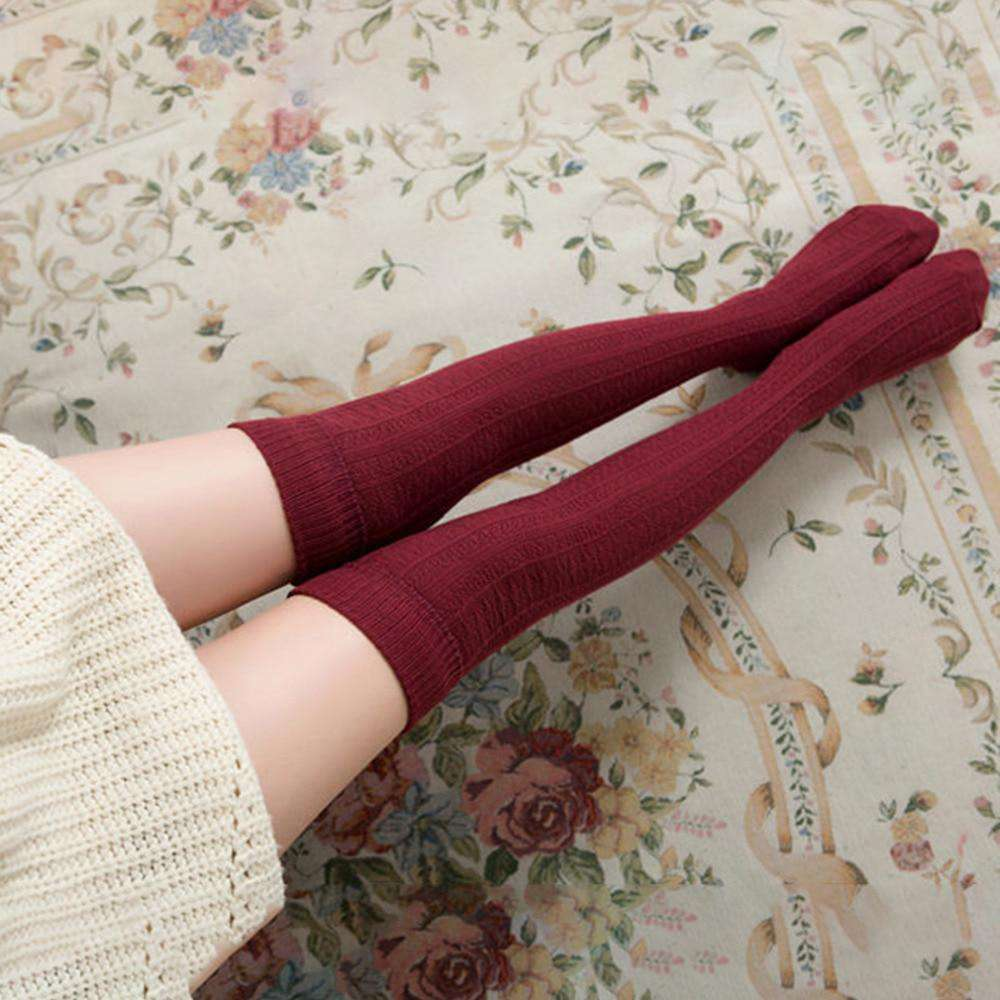 26fbbd49181 Women s Cotton Knee Socks Warm Thigh High Over The Knee Stockings Long  Stocking Sexy Medias