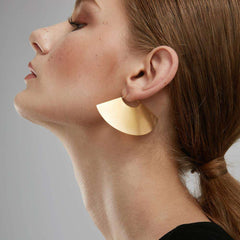 Matte Gold color Big Drop Camber Fan Dangle Earrings For Women Long Earring Jewelry