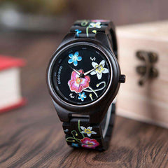 New Fashion Unisex floral Colorful Print Wood Quartz Watch Newest Imitate Embroidery Brand Design Watches as Gift