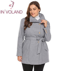 Women's Plus Size Wool Blend Belted Slim Coat