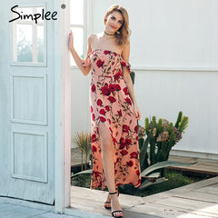 Women's Boho floral print off shoulder ruffle dress clothing