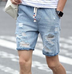 Men's Cotton Ripped Breathable Denim Short Jeans