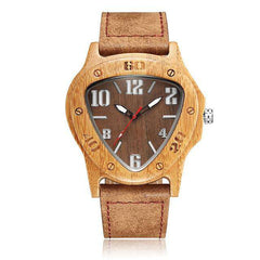 Men's Unique Natural Bamboo Triangle Wood Watch Handmade Quartz Watch with Leather Strap