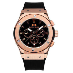 Men's Automatic Rose Gold Self Wind  White Rubber Strap Mechanical Silver Black Case Casual Sports Watch